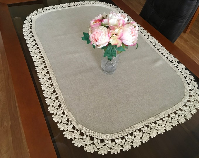 Oval Table Topper Large Doily Crochet Cotton Tablecloth Lace Doilies Beige Centerpiece Handmade Crocheted Vintage Wedding Gift Table Runner