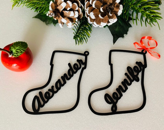 Personalized Christmas Stocking Name Gift Tags Metal Wood Acrylic Bauble Custom Ornaments Laser Cut Names Family Gifts Xmas Tree Decorations