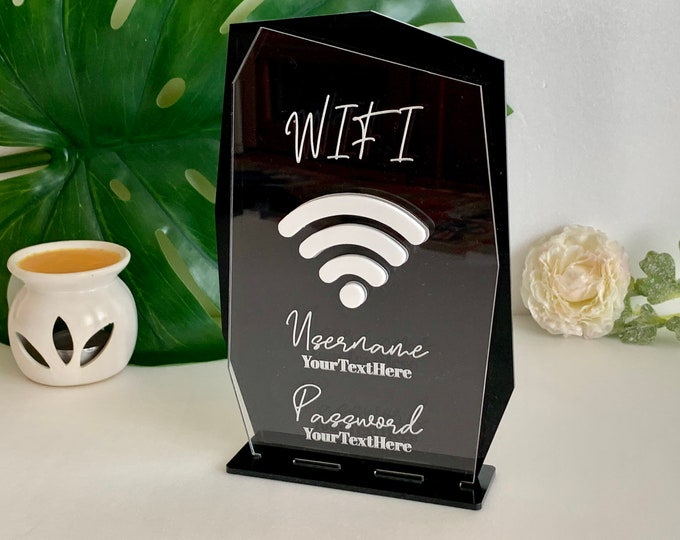 Personalized Wifi Sign Guest Wi-Fi Signage Password Network Username Internet Custom Information Coffee Bar Restaurant Hotel Salon Signs