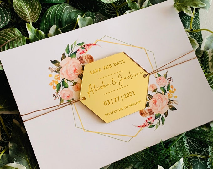 Save the Date & Wedding Invitation, Personalized Names Mirror Acrylic, Wood Hexagon Shapes Custom Invites Reception, Invitation to Follow