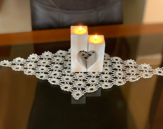 Christmas gift for her, Set of handmade doily crochet & wood heart candle holder Table decorations Lace doily Tea light holders Wedding gift