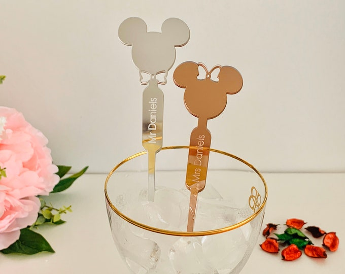Personalized Mickey Mouse Minnie Mouse Disney Wedding Decorations Drink Stirrers Custom Name Swizzle Stir Stick Birthday Party Accessories