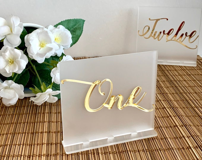 Frosted White Wedding Table Numbers Modern Centerpieces Acrylic Wedding Signs Seating Plan Luxury Decor Handmade Frost Table Number Holders