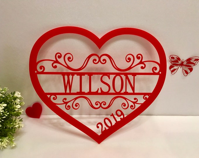 Personalized Heart Love Wall Hanging Wreath Monogrammed Sign Door Decor Valentines Day Gift Custom Wedding Family Name Sign Established Year