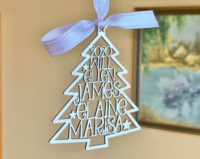 Personalized 2020 Christmas Tree Ornaments Custom Family Names Laser Cut Holiday Gift Happy New Year 2021 Xmas Silver Hanging Tag Kids Names