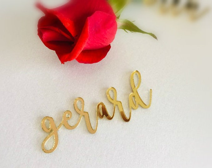 Laser Cut Names Wedding Place Cards Calligraphy Acrylic Table Tags Guest Names Place Setting Sign for Dinner Party Decorations Escort Cards