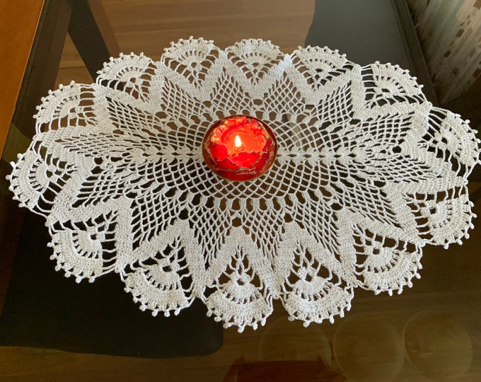 White Crochet Doily Oval Small Doily Crocheted Centerpiece Handmade Lace Vintage Home Decorations Gift for Mom Table Top Runner Tablecloth