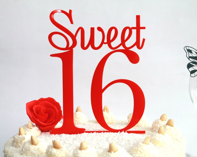 Happy 16 Birthday Table Decoration 16th Birthday Party Cake Topper Custom Sweet 16 Sweet Sixteen Tags Red Cake Topper Birthday party favors