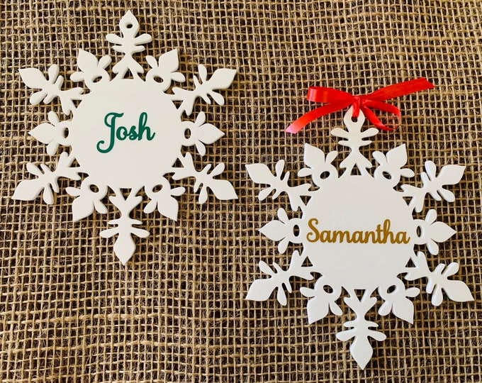 Custom Snowflake Name Ornaments Personalized Laser Cut Snowflakes Christmas Tree Decorations Xmas Gift Ideas Hanging Winter Bauble Keepsake