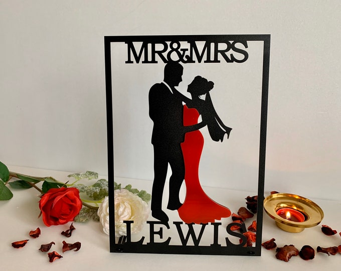 Mr & Mrs Sign Personalized Bride and Groom Silhouette Custom Wedding Last Name Sign Lady in Red Top Table Decor Sweetheart Table Centerpiece