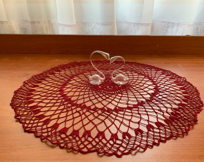 Handmade Red Doily Crochet Delicate Cotton Tablecloth Home Decoration Bohemian Doilies Table Round Centerpiece Crocheted Lace Gift for Mom