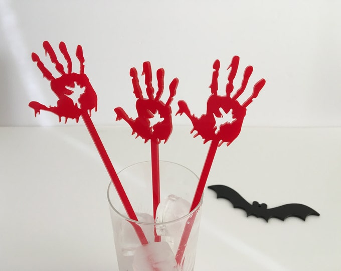 Halloween party Skeleton hands Cocktail Drink stirrers Stir Sticks Halloween decoration Bloody Zombie hands Party favors Witch silhouette