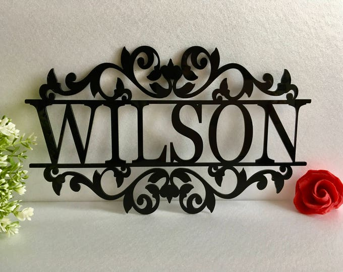 Personalized Any Name Laser Cut Acrylic Metal Sign Outdoor Hanging Family Last Name Monogram Garden Door Sign Custom Wedding Sign Wall Decor