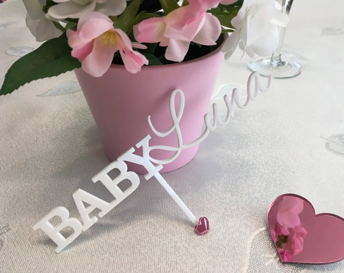 Personalized Baby Name Cake Toppers Cake Centerpieces Welcome Baby Topper Baby Shower Decor Party Picks New Baby Girl Baby Boy Gold Glitter