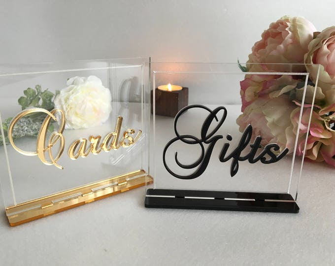 Cards and Gifts Table Sign Luxury Wedding Decor Cards & Gifts Clear Acrylic Reception Calligraphy Free Standing Modern Font Elegant Decor