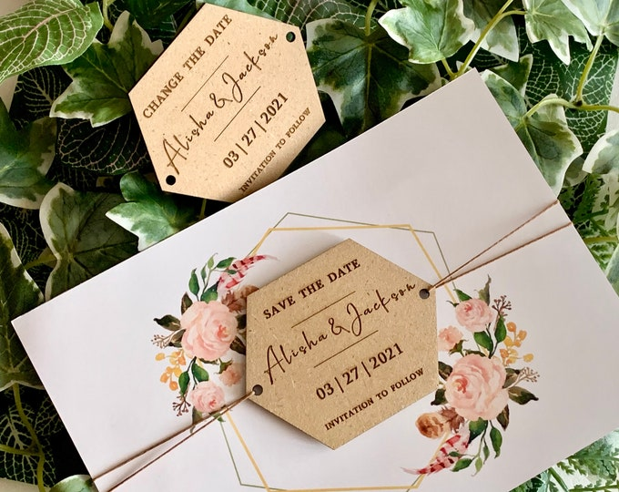 Save the Date & Wedding Wood Invitation Change The date Personalized Names Wooden Hexagon Shape Custom Invite Reception Invitation to Follow