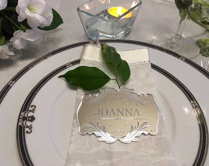 Personalized Wedding Place Cards Save the Date Engraved Guest Names Escort Cards Custom Laser Engraved Names Place Settings Centerpieces Tag