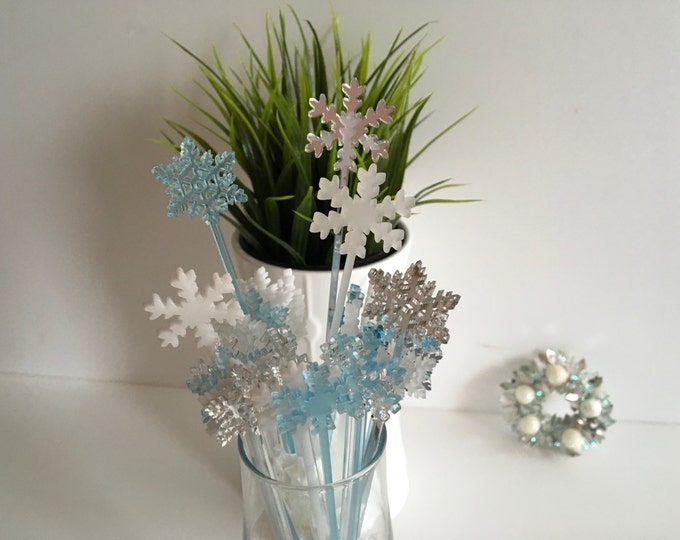 Wedding drink stirrers Christmas decorations Winter Snowflake stir stick Party picks Swizzle stick Cocktail stirrer Frozen party centerpiece