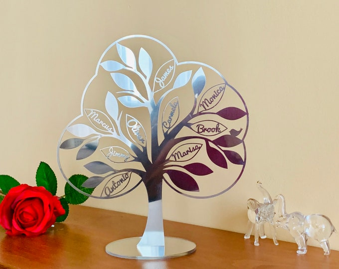 Personalized Family Tree Art 3D Tree of Life Custom Sign Laser Cut Names Christmas Wedding Gift Silver Anniversary Freestanding Bird on Tree