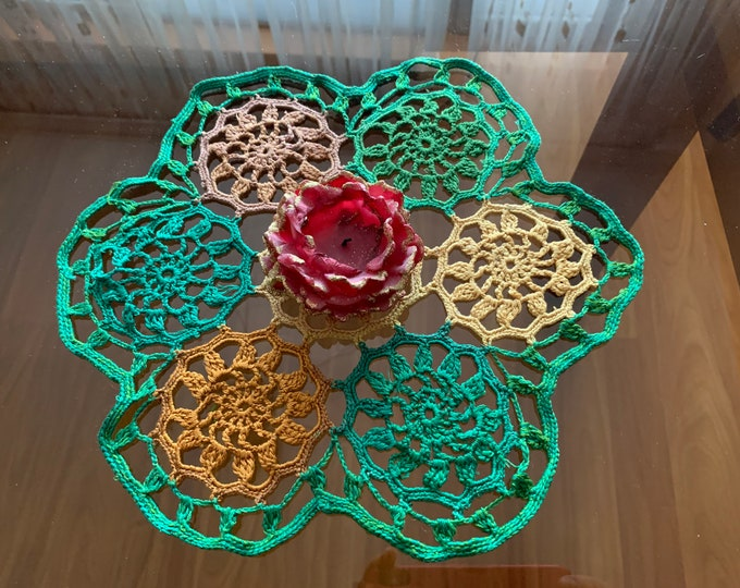 "12"" Handmade Multi Colored Doily Crochet Lace Table Centerpiece Green Doilies Home Decorations Small Table Toppers Placemat Mothers Day Gift"