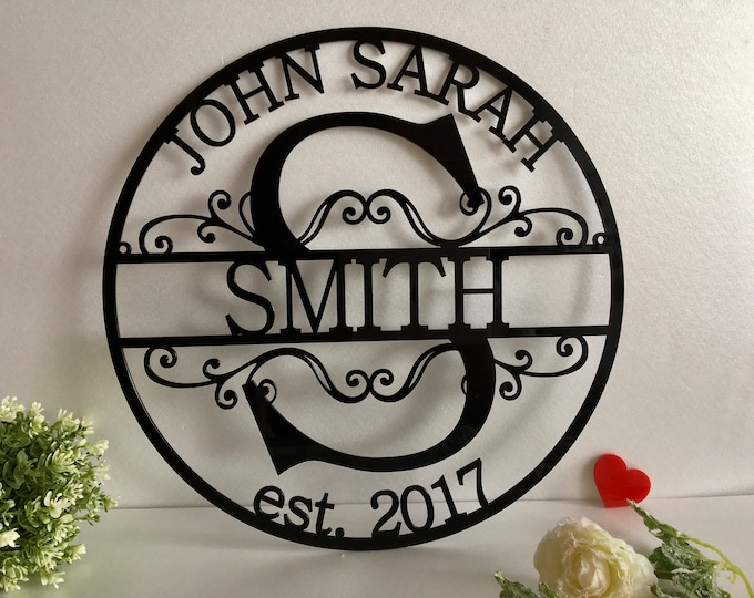 Personalized Acrylic Last Family Name Metal Sign Initial Split Letter Wedding Gift Custom Names Est. Year Established Wall Hanging Monogram