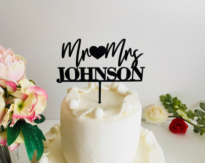 Custom Mr Heart Mrs Name Cake Topper Wedding Cake Toppers with Heart Your Last Name Wood Acrylic Mirrored Table Centerpiece Calligraphy Name