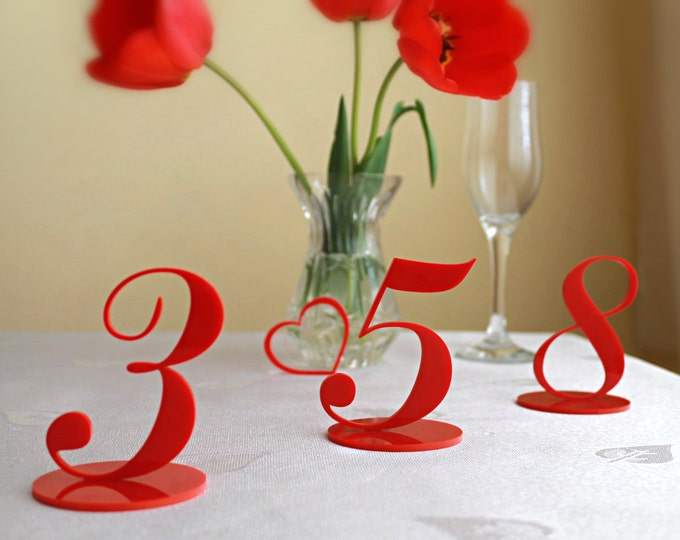 Numbers for weddings Wedding table centerpieces Laser Cut Acrylic Number Holders with Base Red Wedding table decor Freestanding Reception