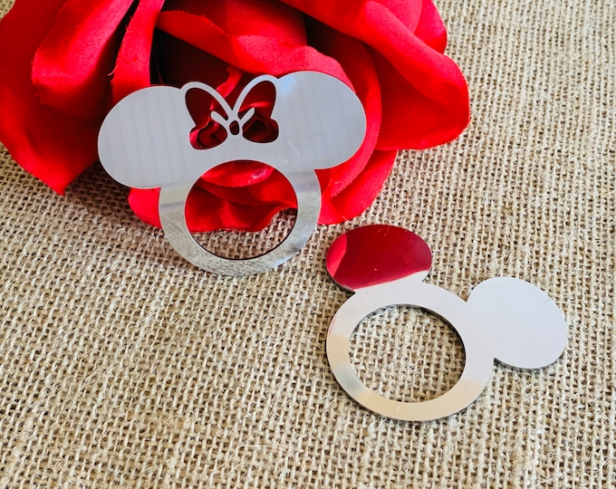 Mickey Mouse Napkin Rings Stainless Steel Minnie Mouse Silver Napkin Ring Holders Disney Birthday Table Kids Clubhouse Party Decorations