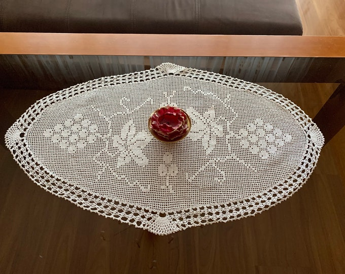 Doily Crochet Table Runner Cotton Tablecloth Home Decor Oval Doilies Beige Centerpiece Handmade Crocheted Vintage Mothers Day, Gift For Her