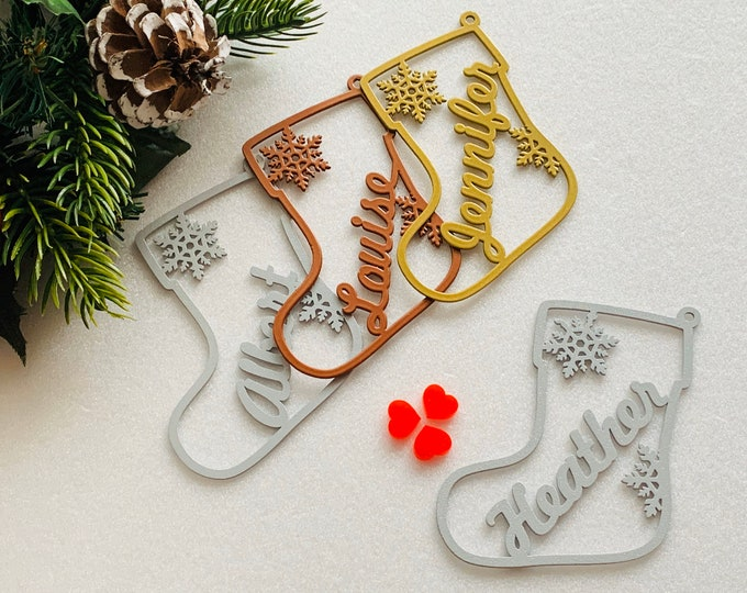 Personalized Christmas Ornaments Custom Stocking Name Gift Tags Hanging Holiday Tree Decorations Xmas Metal Bauble Laser Cut Name Snowflakes