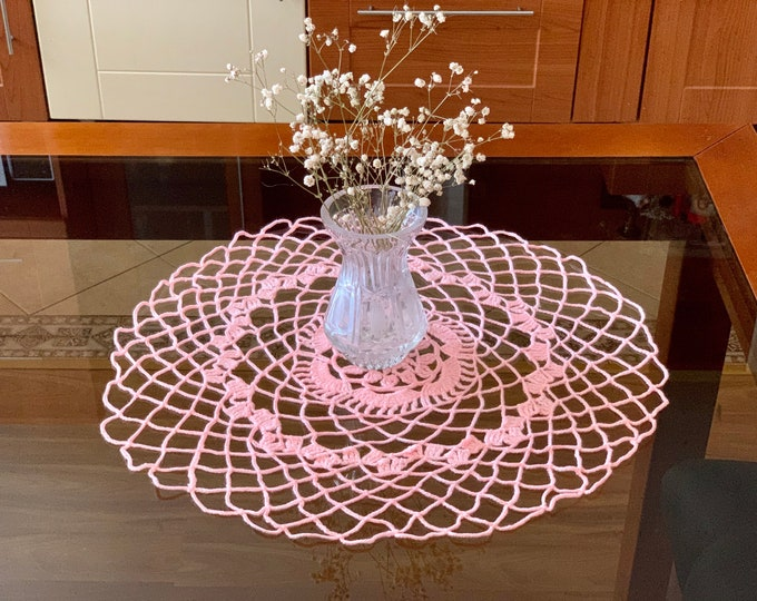 Handmade Pink Round Doily Crochet Small Tablecloth Home Decoration Doilies Baby Girl Room Table Centerpiece Crocheted Placemat Gift for Her