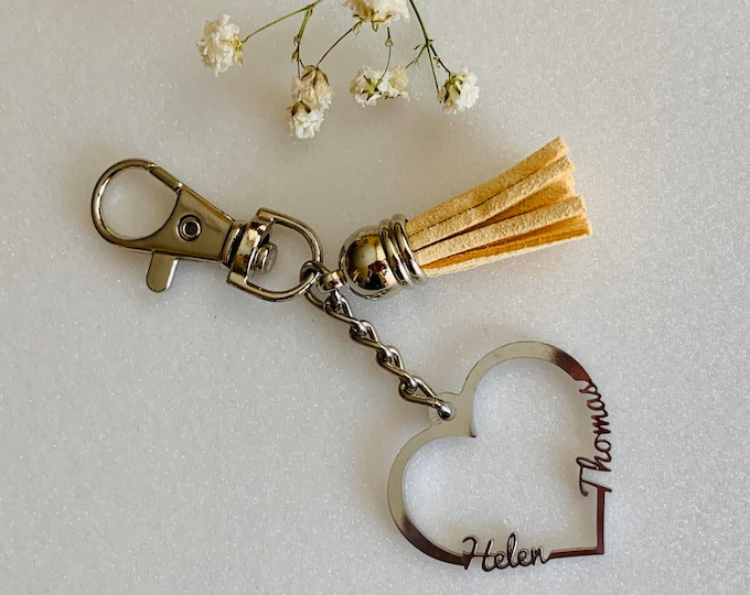 Personalized 2 Names Keychain Heart Custom Name Keyring Two Names Heart Birthday Girlfriend Valentines Day Gift For Mom Idea Stainless Steel