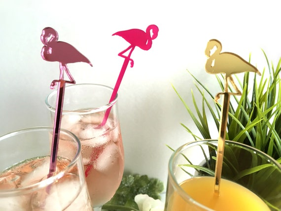 Pink Flamingo Drink Stirrers Swizzle Stir Sticks Cupcake Topper Tropical Beach Wedding Party Picks Bar Decor Hawaiian Baby Shower Birthday