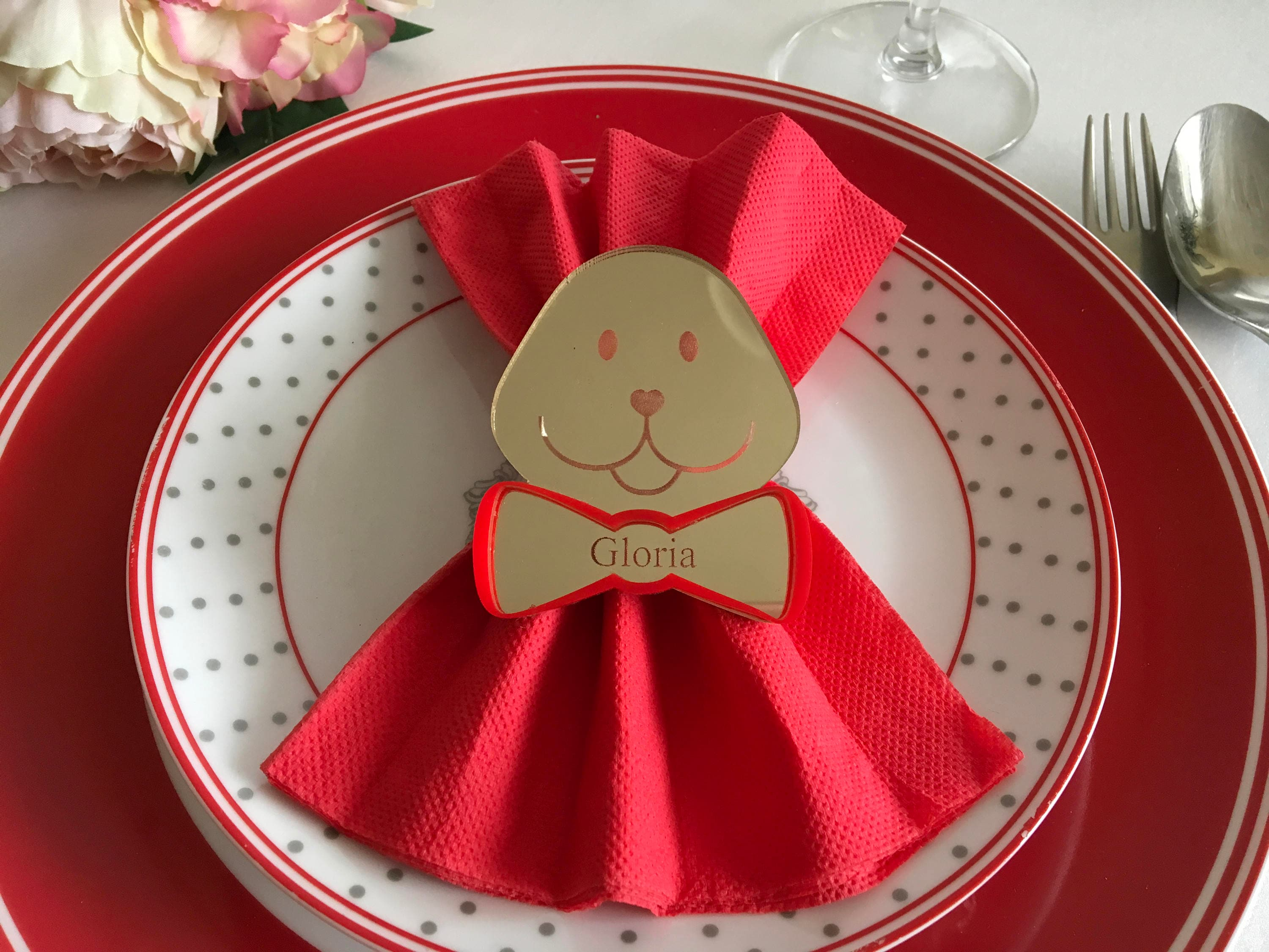 Personalized Napkin Ring Holders Custom Engraved Name Gold Acrylic Teddy Bear 1st Birthday Party Favors Kids Napkin Rings Baby Shower Decor