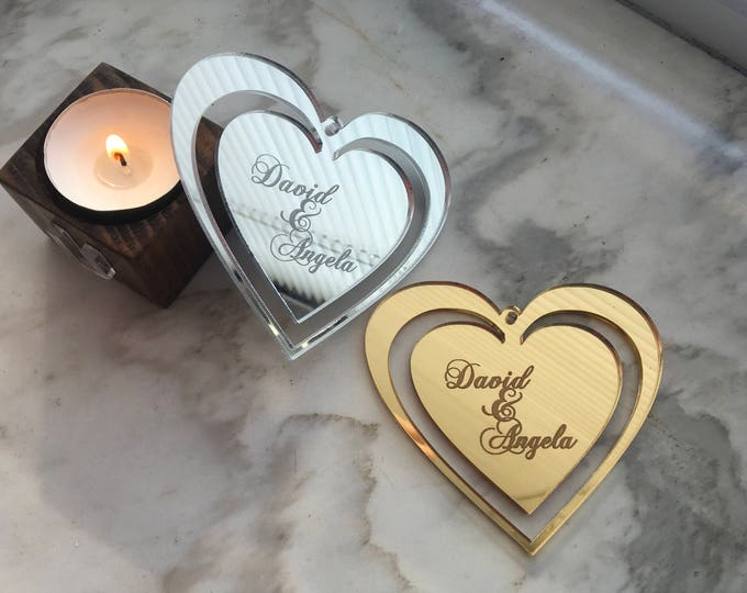 Personalized Engraved Heart Shapes Sweet Gift for Couple Valentines Day Custom Names Love Decor Boyfriend Girlfriend Engagement Wedding Gift