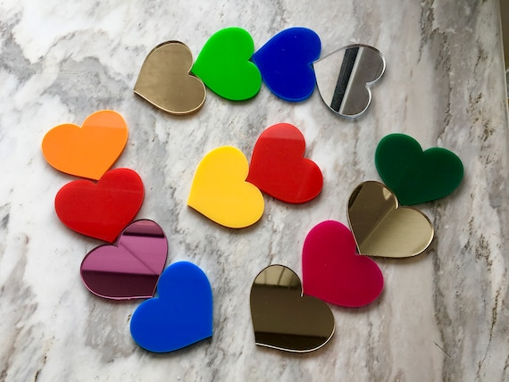 Laser Cut Acrylic Mirror Hearts Love Table Confetti Crafts Personalised Couples Wedding Valentines Day Decor Bridal Shower Custom Engraved
