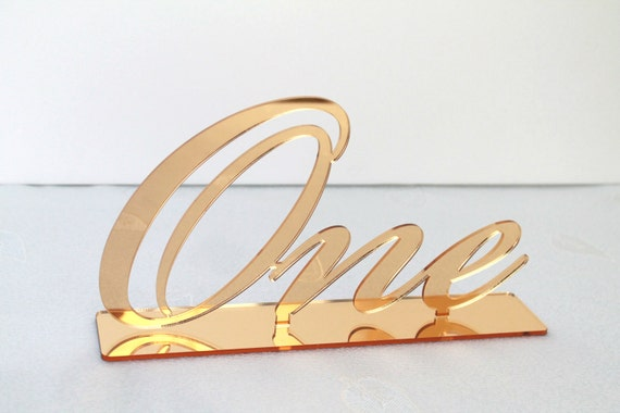 Large gold mirror table script numbers Wedding acrylic number holders First Birthday Sign Word Number One Wedding decorations Freestanding