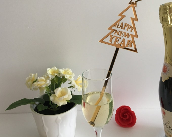 New year decor Party drinks New Year's Eve Christmas Swizzle sticks New year party Drink stirrers Happy New Year 2022 Personalized drinks
