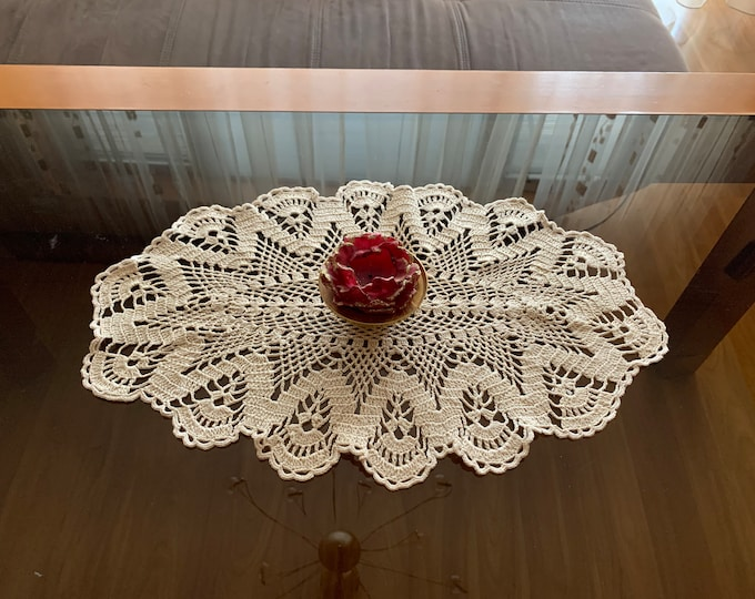 Lace Doily Crochet Beige Oval Handmade Doily Placemat Top Table Decor Runner Topper Cotton Table Centerpiece Mothers Day, Mom Gift, Grandma