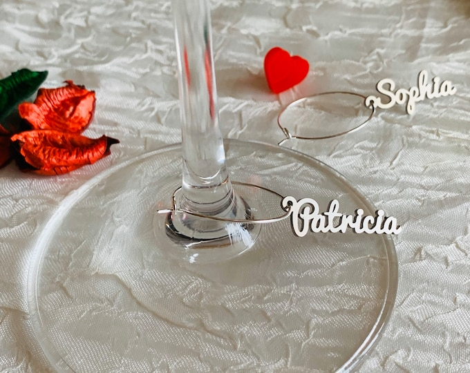 Personalized Wine Glass Charms Wedding Drink Tags Custom Name Charms Bridal Shower Decor Party Favor Laser Cut Place Cards Stainless Steel