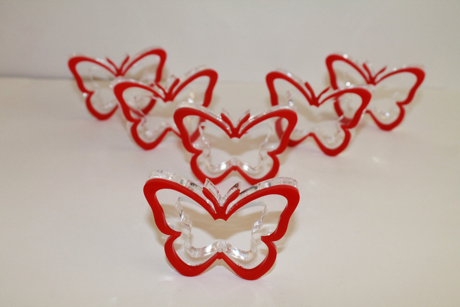 Red Napkin Ring Holders Butterfly Party Decoration Butterflies
