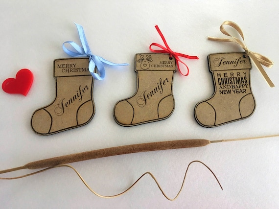 Wood Stocking Gift Name Tags Personalized Christmas Present Labels Xmas Decorations Holiday Hanging Tag Engraved Wooden Customized Ornaments