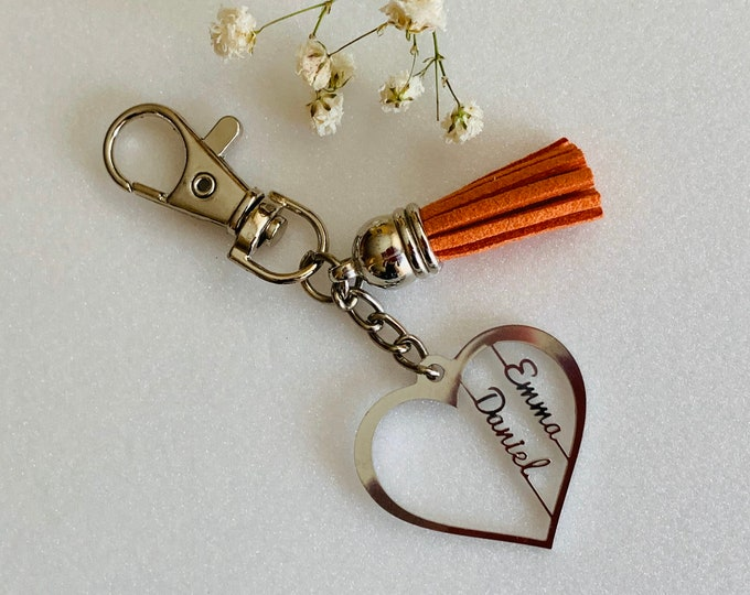 Personalized Heart Keychain with Custom 2 Names Laser Cut Valentines Day Gift for Her Keyring with Tassel for Women Birthday Stainless Steel