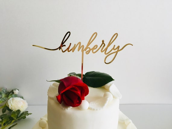 Personalized Name Cake Topper Custom Any Name Cupcake Bridal Wedding Cake Decoration Calligraphy Customized Birthday Party Baby Shower Decor