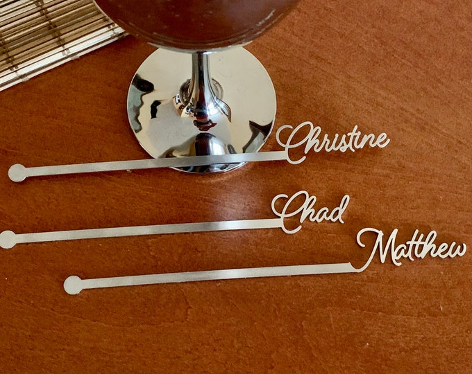 Personalized name drink stirrers Custom stainless steel swizzle stir sticks Cocktail accessories Housewarming decorations, Silver, New FONT
