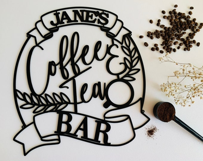 Personalized Metal Sign Coffee & Tea Bar Custom Laser Cut Name Housewarming Gift Mom Coffee Lover Wall Art Decor Acrylic Wood Kitchen Sign