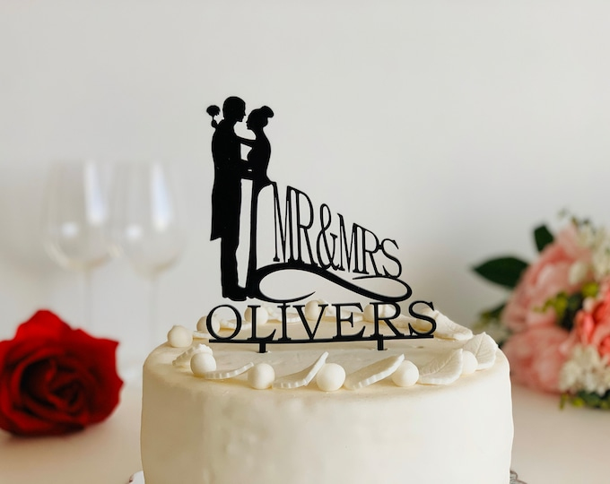 Personalized Wedding Cake Topper Bride and Groom Mr and Mrs Couple Silhouette Acrylic Cake Topper with Last Name Custom Cake Decorations