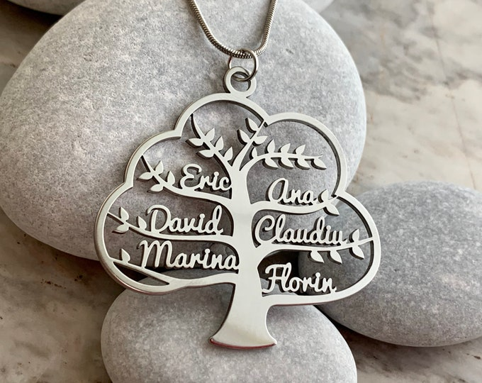 Custom Family Tree of Life Necklace Name Pendant Personalized Jewelry for Women Gift for Grandma Stainless Steel Chain Custom Family Names