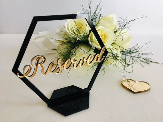 Wedding Reserved Sign Geometric Hexagon Laser Cut Reserved Table Centerpieces Freestanding Reception Decorations Table Numbers Seating Plan