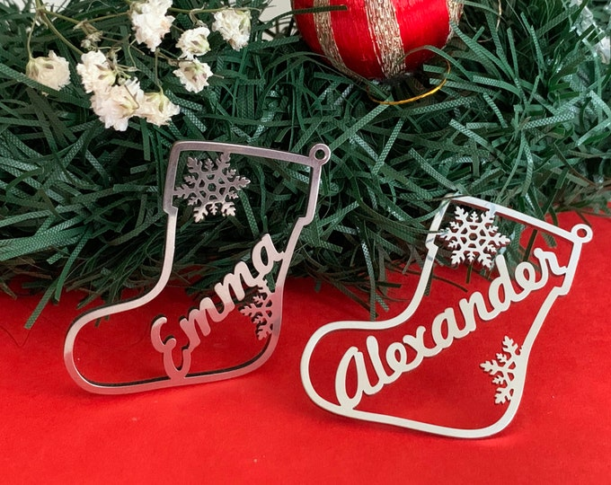 Personalized Stocking Gift Name Tags Custom Hanging Ornament for Christmas Tree Xmas Decorations Laser Cut Metal Snowflakes Stainless Steel
